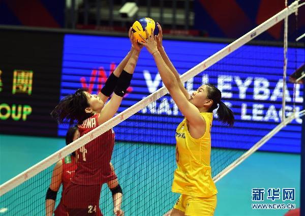 (体育)(2)排球——世界女子联赛香港站:中国胜日本