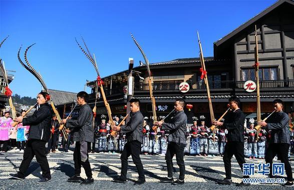 """(社会)(1)贵州丹寨:苗族群众欢度""""祭尤节"""""""