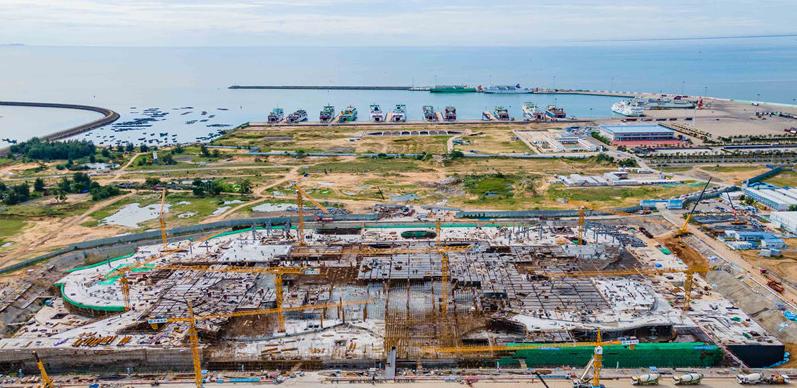 海口国际免税城项目免税商业中心预计12月封顶