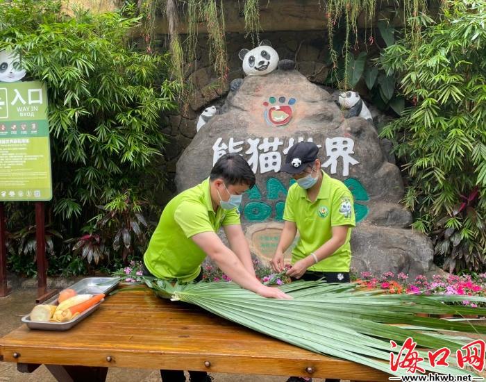 """萌翻了!海南熊猫兄弟吃""""饺子""""拆盲盒庆新春[组图]"""