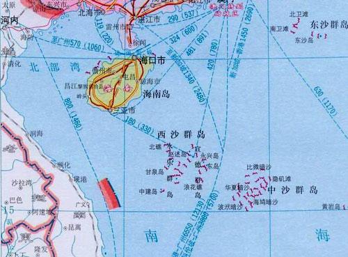 海南岛和西沙群岛海域地图