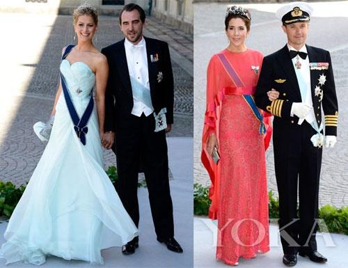 丹麦公主mary身穿亮眼的粉色雪纺礼服,黄色的花纹典雅不俗气,胸前