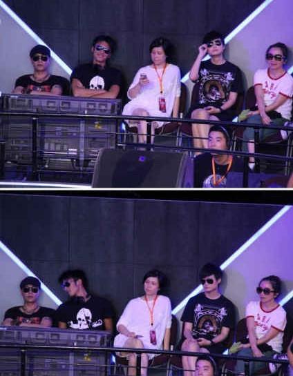谢霆锋 范世琦 左立/谢霆锋和陈坤终于聊上了,当中的白衣女子是天娱副总裁