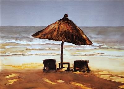 林先动水彩 《无人的海边》
