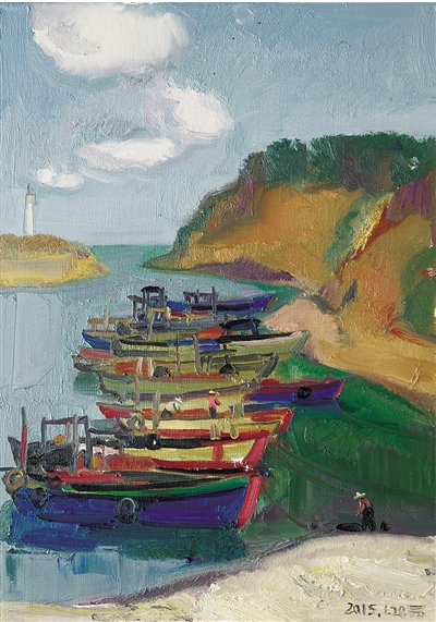 苗寨写生油画风景图片