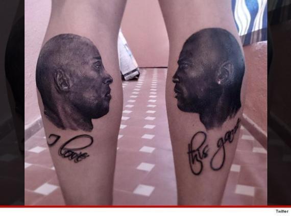 美球迷酷炫纹身致传奇 小腿左科比右乔丹(图)图片