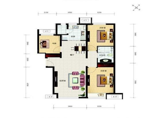 富力尚悦居-三居室-112.00平米-户型图装修效果图