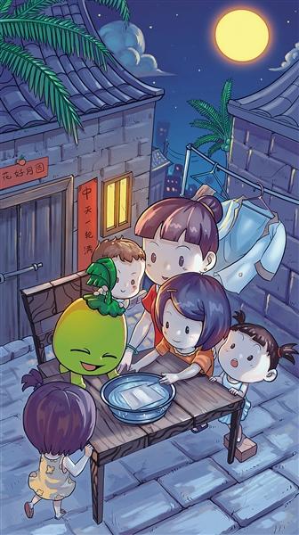 中秋节的风俗习惯-中秋节民俗插画-玩 海南方言 寻乡土情怀