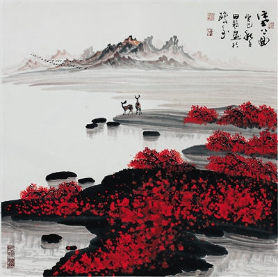 田耘水墨画:大漠沉霜月