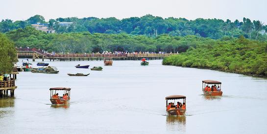 东寨港红树林自然保护区位于海口市美兰区演丰镇