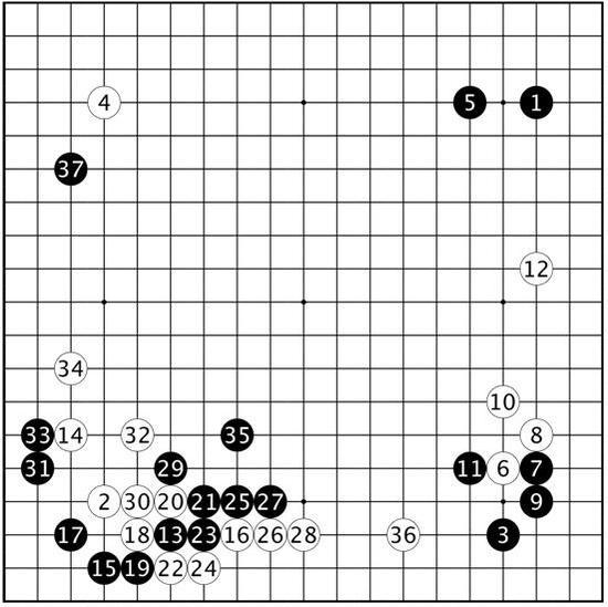 打连相曲谱-黑11夹,看重13挂后的发展.黑21连扳的变化,现在仍在流行.白22