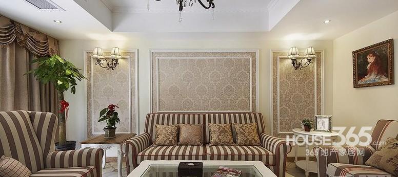 欧式小花壁纸客厅