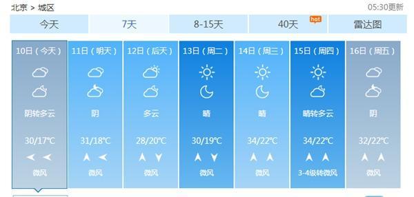 """北京今日""""退烧""""最高温30℃ 夜间有分离性阵雨"""