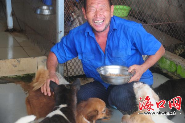 海南省小动物保护协会员工为照顾流浪狗9年不回家