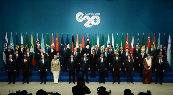 2014年G20峰会各国领导人合影-日媒 日中暗战G20主办权 中国获压倒图片