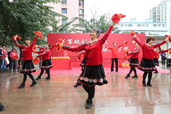 """乡""""活动现场的秧歌舞表演-海口秀英区文化科技卫生 三下乡 群众喜"""