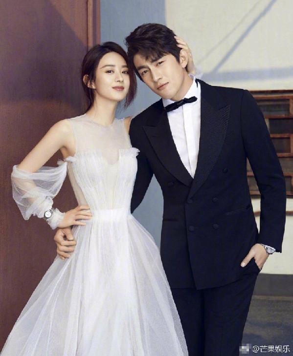 赵丽颖林更新婚纱照 搂腰对视有点甜图片