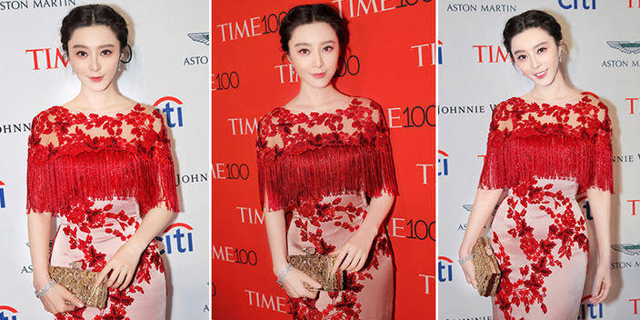 范冰冰出席TIME100晚宴 流苏红裙尽显高贵美艳