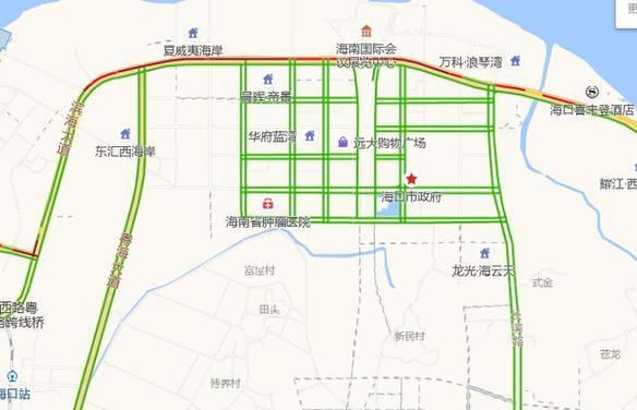 截至23日21时 滨海大道海港路南往北方向拥堵