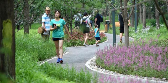 (社会)(1)北京东城区第一处城市森林公园建成开放