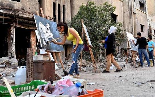 (国际·图文互动)(1)通讯:为废墟作画的叙利亚年轻人