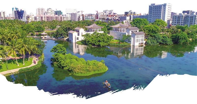 整治后的海口东西湖风景如画.海南日报记者张茂摄