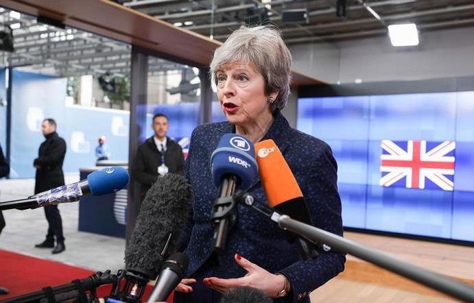(国际)(4)英国首相特蕾莎·梅与欧洲理事会主席图斯克举行会谈