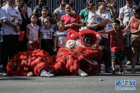(国际·图文互动)(4)巴西圣保罗举行中华文化快闪活动