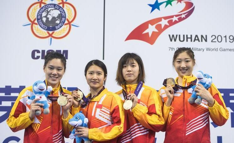(軍運會)(1)水上救生——女子4X50米障礙游泳接力:中國隊奪冠