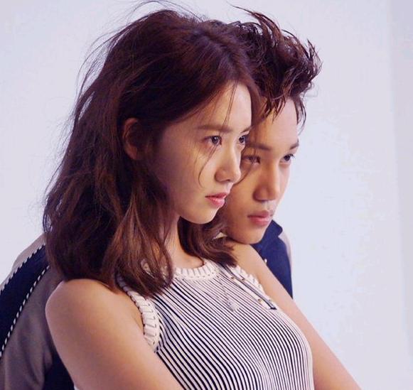 少女时代允儿和exo成员金钟仁拍摄的慈善写真花絮曝光,两人面容精致