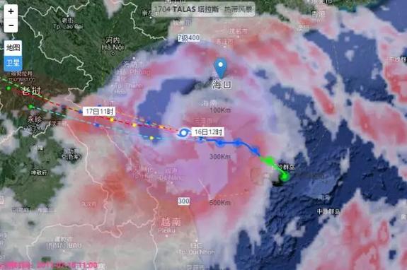 12时台风路径卫星云图.-台风 塔拉斯 擦过海南三亚 明日登陆越南东北图片
