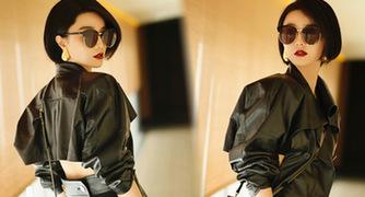 范冰冰皮衣短裙露美腿 经典暗黑时尚造型抢镜