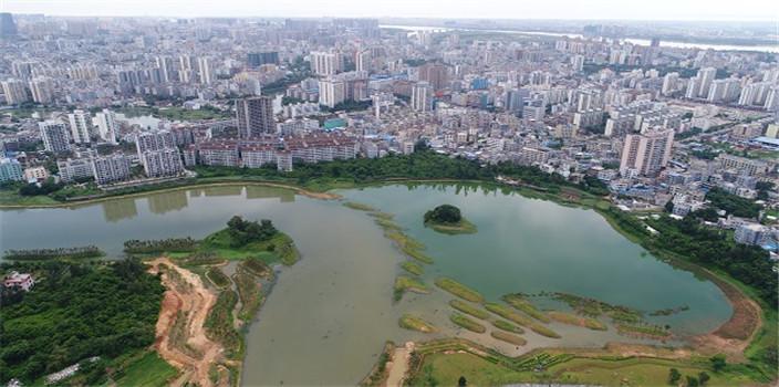 感受湿地魅力!航拍海口美舍河凤翔湿地公园