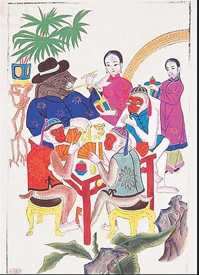 绵竹年画《三猴烫猪》图片