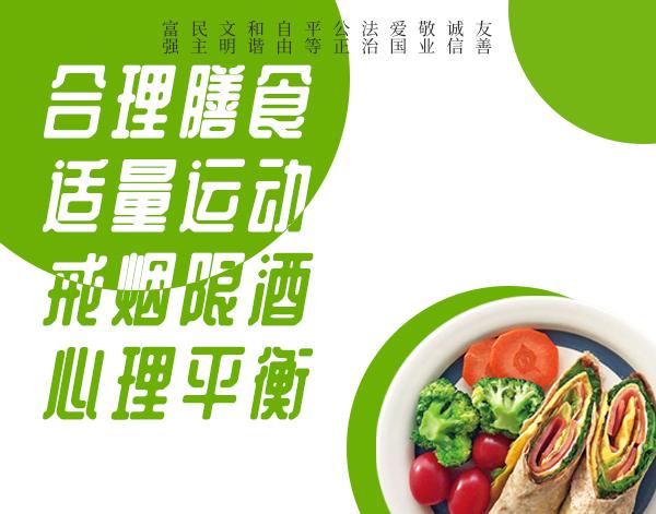 公益广告:合理膳食 适量运动 戒烟限酒 心理平衡