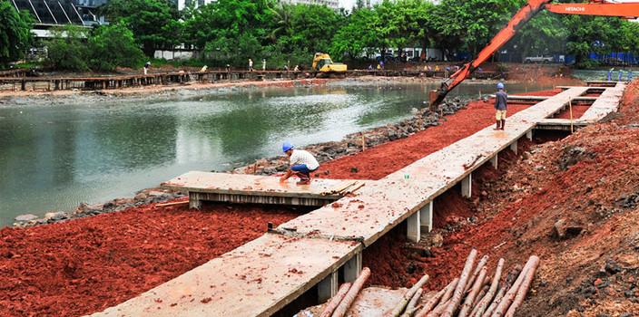 海口鸭尾溪景观提升工程预计7月竣工