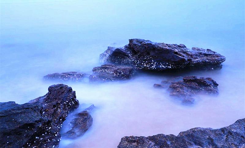 慢门摄影|vr极速3D假日海滩:静谧的礁石(组图)